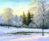 beautiful winter landscape, canvas, oil