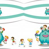illustration of a kids and monster on a white background