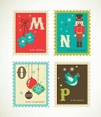stock photo of nutcracker  - Christmas alphabet with cute xmas icons - JPG