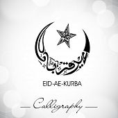 Eid-Ae-Kurba or Eid-Ae-Qurba, Arabic Islamic calligraphy for Muslim community festival. EPS 10.