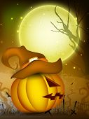 Scary pumpkin wearing witch hat on Halloween moon light night. EPS 10.