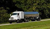 picture of 18 wheeler  - A fuel tanker transport truck on a highway fuel transportation - JPG
