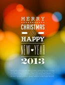 stock photo of happy new year 2013  - Merry Christmas and Happy New Year Card  - JPG