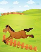 Ilustración del caballo en la naturaleza hermosa