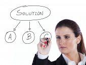 Businesswoman making choosing her strategy