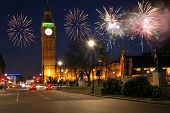 stock photo of guy fawks  - Fireworks over houses of parliament  london uk - JPG