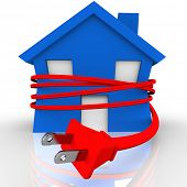 A blue house or home is strangled or squeezed by a red electrical cord to symbolize reliance on elec
