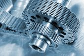 stock photo of titanium  - aerospace gears and chain - JPG