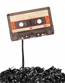 picture of magnetic tape  - Audio tape cassette with subtracted out tape - JPG