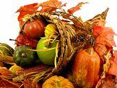 picture of horn plenty  - Thanksgiving decoration horn of plenty on an isolated white background - JPG