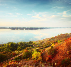 pic of kama  - Autumn calm river Kama at sunrise - JPG