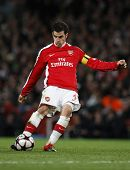 LONDON, ENGLAND. 31/03/2010. Arsenal player Cesc Fabregas (captain) in action during the  UEFA Champions League quarter-final between Arsenal and Barcelona at the Emirates Stadium