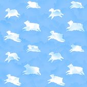Seamless sheep in clouds pattern