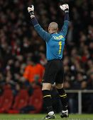 LONDON, ENGLAND. 31/03/2010. Barcelona goalkeeper Victor Valdes  celebrates a goal during the  UEFA Champions League quarter-final between Arsenal and Barcelona at the Emirates Stadium
