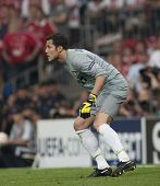 MADRID, SPAIN. 22/05/2010. Milan's goalkeeper Julio Cesar in action during the  Champions League final. played in The Santiago Bernabeu Stadium, Madrid. Inter Milan won the match 2-0.