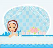 Woman Bathing In Bathtub In Beautiful Bathroom.
