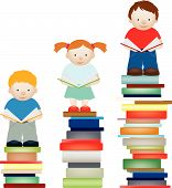 pic of girl reading book  - A vector concept illustration of children improving by reading - JPG