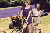 Sexy Vintage Girls With  Bicycle