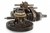 Pinions And Differential  From  Gearbox, Isolated On White Background, With Clipping Path