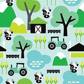 Seamless farm animal cow and tractor kids illustration decorative background pattern in vector
