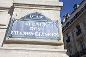 Street sign of Avenue des Champs-Elysees.