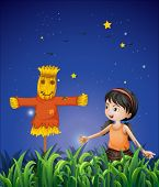 Illustration of a girl mimicking the scarecrow