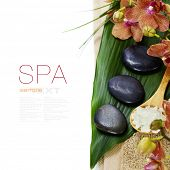spa concept (zen stones, sea salt, orchid flower and towel) over white  (with easy removable sample