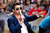 NEW YORK-JULY 30: Singer Robin Thicke performs on NBC's Today Show at Rockefeller Plaza on July 30,