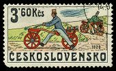 Czechoslovakia - Circa 1986: Stamp Printed By Czechoslovakia, Shows The Image Of Retro Bicycle, Circ