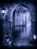 stock photo of gothic  - Fantasy scene in the Gothic style in dark colors - JPG