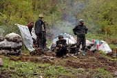 Eine Gruppe Zigeuner sammeln Pilze im Wald
