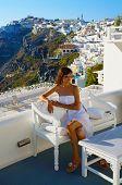 Beautiful Woman On Santorini ,thira