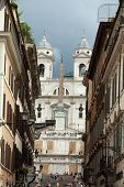 Rome - The Spanish Steps and Church of Trinita' dei Monti . Italy