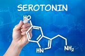 hand with pen drawing the chemical formula of serotonin