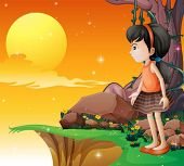 Ilustración de una chica joven mirando la luna llena en el acantilado