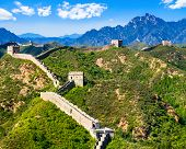 Great Wall Of China On Summer Sunny Day, Jinshanling Section Near Beijing