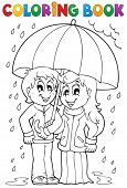 Coloring book rainy weather theme 1 - eps10 vector illustration.