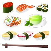 Vector set: Sushi (Roll). Japanese cuisine