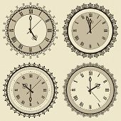 Vector Vintage Clock Set
