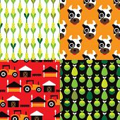 Seamless farm animal kids pattern selection background in vector