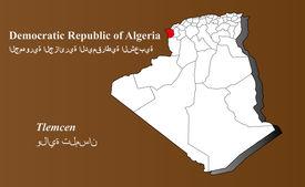foto of khenchela  - Algeria map in 3D on brown background - JPG