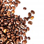 Roasted Coffee Macro Background. Arabica Coffee Beans Background Texture Isolated On White Backgroun