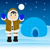 stock photo of igloo  - Illustration of the eskimo near by igloo on north - JPG