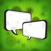 White Speech Bubbles On Green Grange