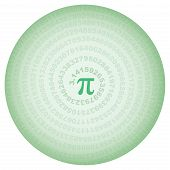 Green Circle With Number Pi