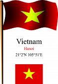 Vietnam Wavy Flag And Coordinates