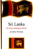 Sri Lanka Wavy Flag And Coordinates