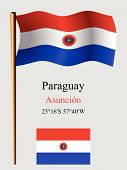 Paraguay Wavy Flag And Coordinates