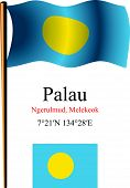 Palau Wavy Flag And Coordinates