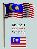 Malaysia Wavy Flag And Coordinates